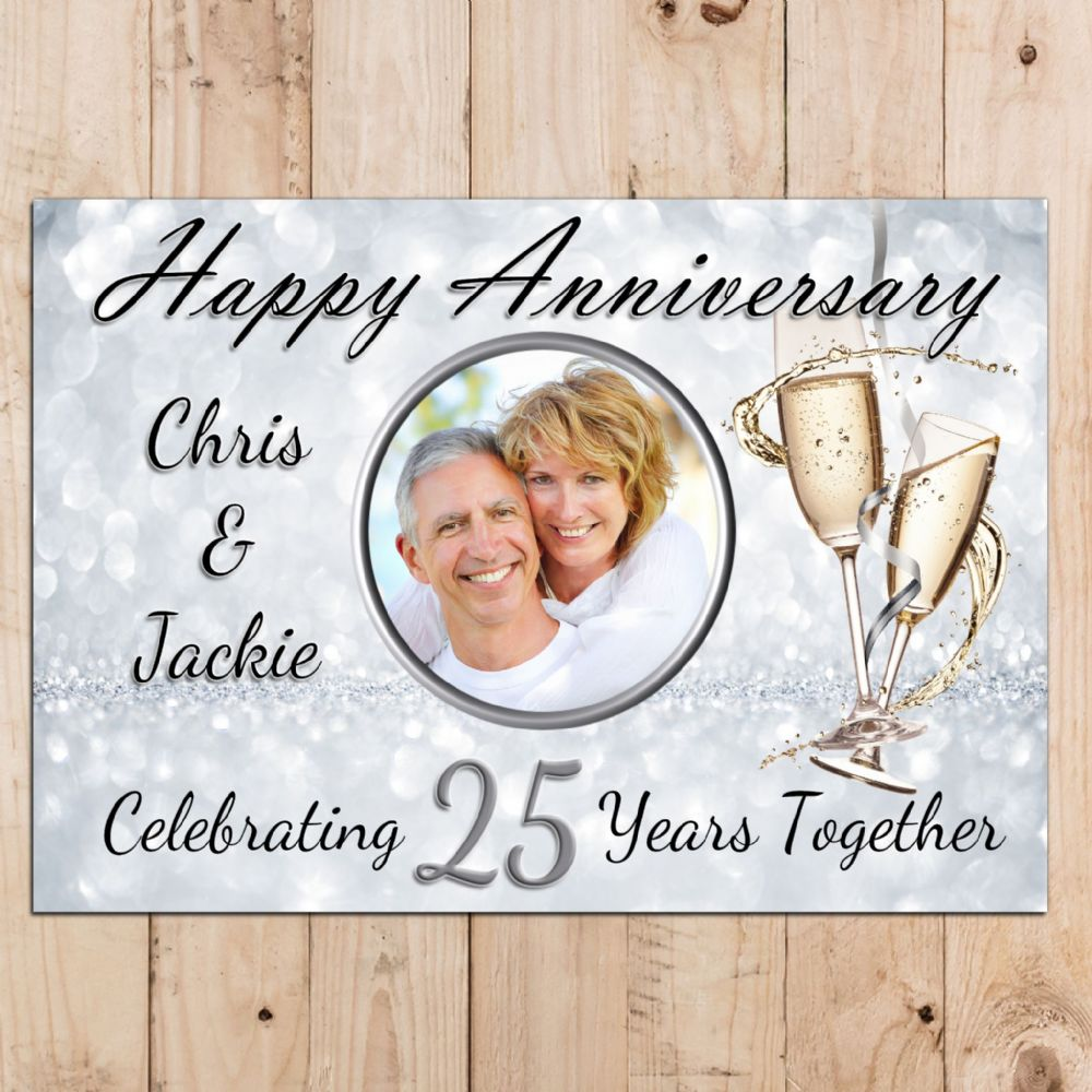Personalised 25th Silver Wedding Anniversary Party PHOTO ...